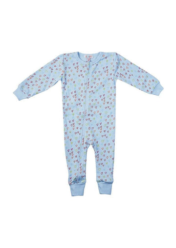 Sprinkle of Hearts Blue Onesie Pajamas giggle