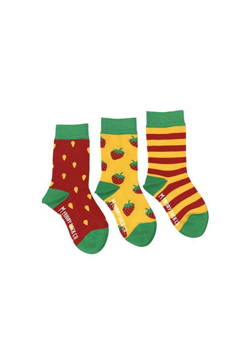 Strawberry & Stripe Sock Set Accessory Friday Sock Co.