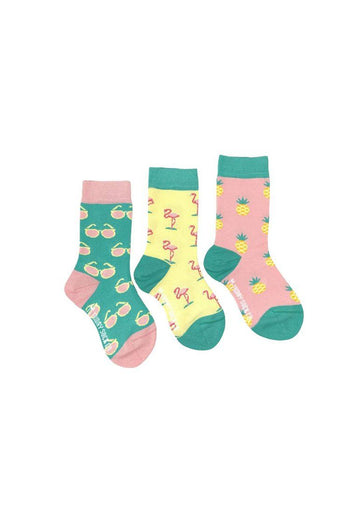 Flamingo, Pineapple & Sunglass Sock Set Accessory Friday Sock Co.