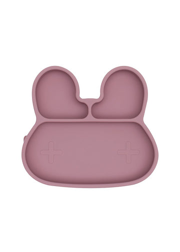 Bunny Stickie Plate - Dusty Rose Feeding We Might Be Tiny