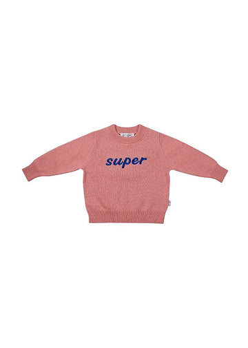 Super Embroidered Pink Cotton Crew Sweater Giggle