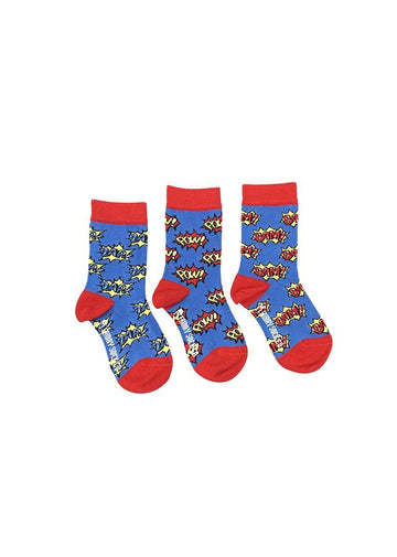 Zap, Pow, Bam Superhero Sock Set Accessory Friday Sock Co.
