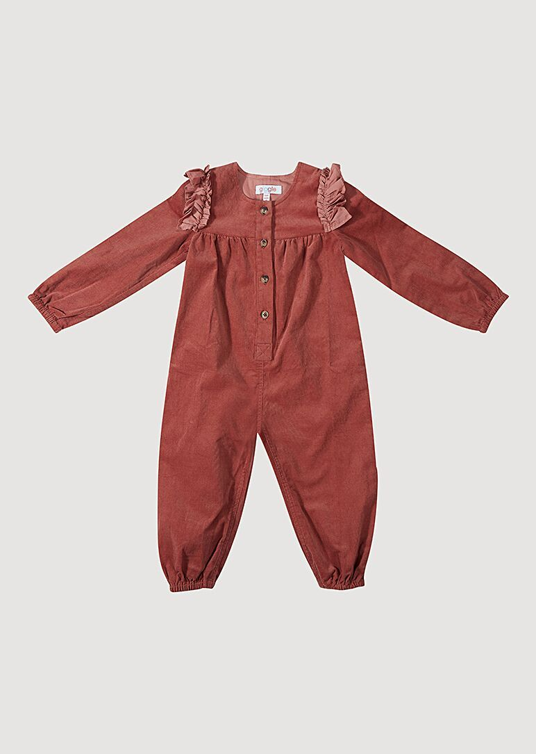 Dusty Rose Baby Cord Woven Jumpsuit Jumpsuit Giggle