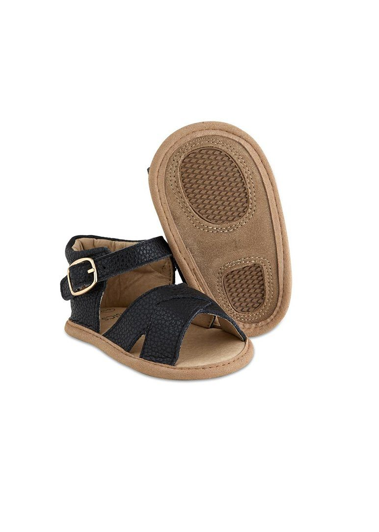 Strappy Leather Baby Sandals - Black Shoes Babe Basics