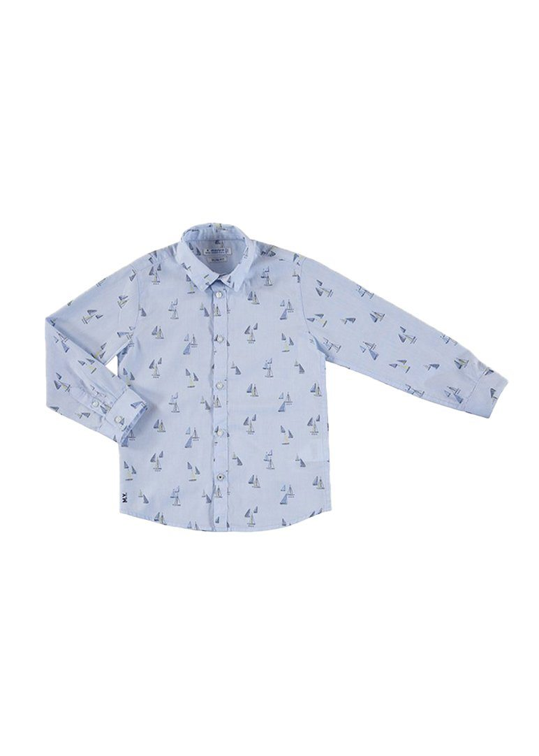 Collared Long Sleeve Shirt with Sailboats Top Mayoral
