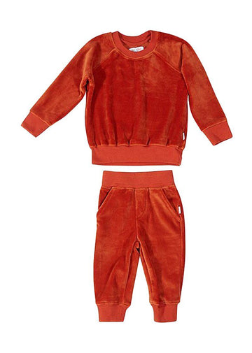 Jamie Velour Sweatsuit - Rust Set Giggle