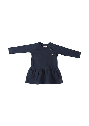 Rainbow Embroidered Sweatshirt Dress - Navy Dress Giggle
