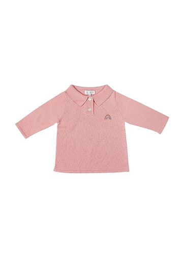 Kelly Polo Sweater Shirt - Pink Top Giggle