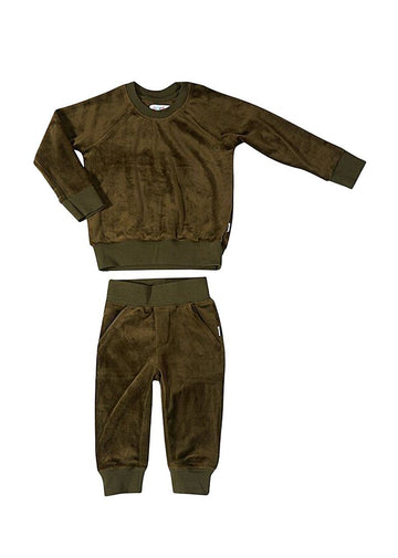 Jamie Velour Sweatsuit - Military Green Set Giggle
