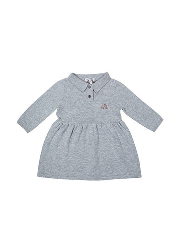 Thea Polo Sweater Dress - Grey Dress Giggle