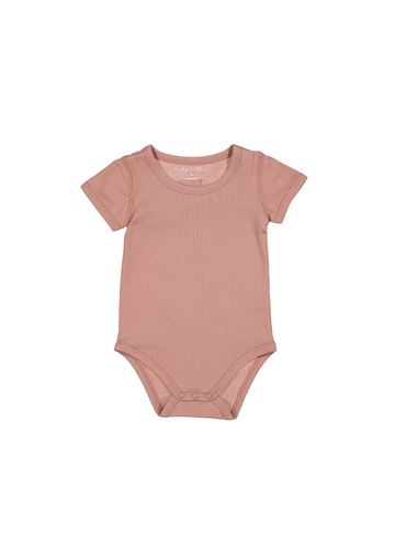 The Cotton Short Sleeve Onesie- Rosewood Layette Lovely Littles