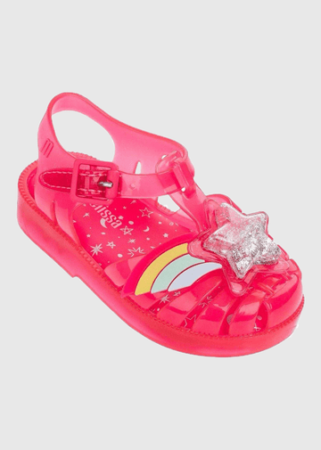 Pink Happy Glitter jelly Shoes Mini Melissa