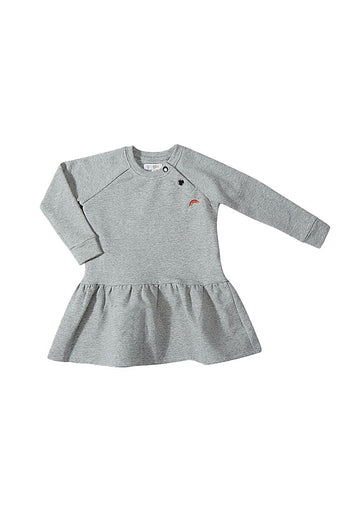 Rainbow Embroidered Sweatshirt Dress - Grey Dress Giggle