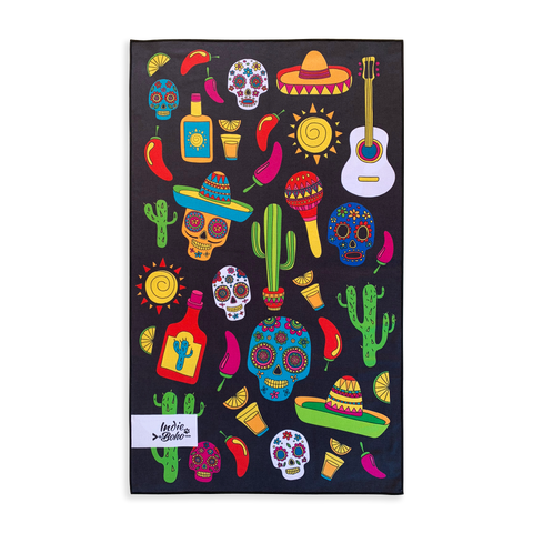 Mexican Skulls Pet Travel Towel