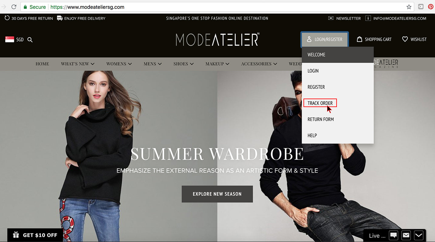 How To Track Order Step 1 - Mode Atelier Sg Online Store