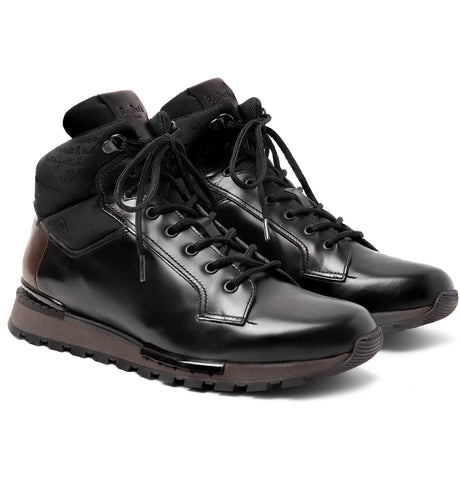 aab19ce46 Shop Fast Track Shearling-Lined Leather and Jacquard-Shell Hiking Boots -  Men Boots