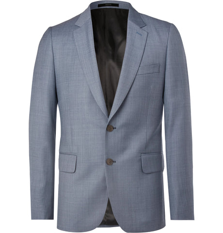 Shop Blue Soho Slim-Fit Wool-Sharkskin Suit Jacket - Men Suits and Blazers 9fb085606654e