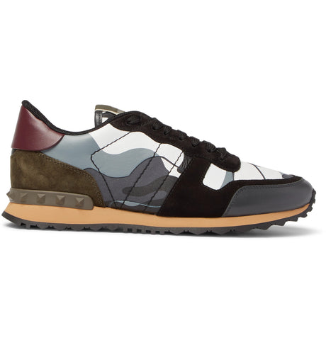 cebe87419 Shop Valentino Garavani Rockrunner Camouflage-Print Canvas, Leather and  Suede Sneakers - Men Sneakers
