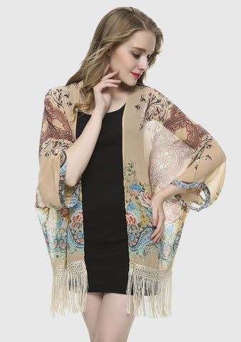 8bd8129e81cdd Shop Floral Loose Tassels Cardigan - Women Sweaters and Cardigans   Mode  Atelier Sg Online Store