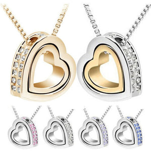 Double Heart Pendant™ - White Gold