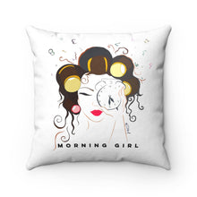 Morning Girl Faux Suede Square Pillow