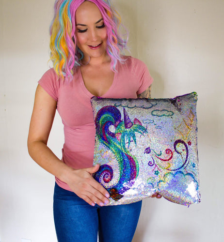 Unicorn Girl Rainbow Shine Sequin Pillow