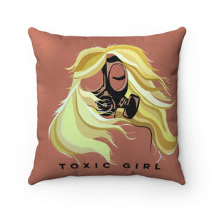Toxic Girl Faux Suede Square Pillow