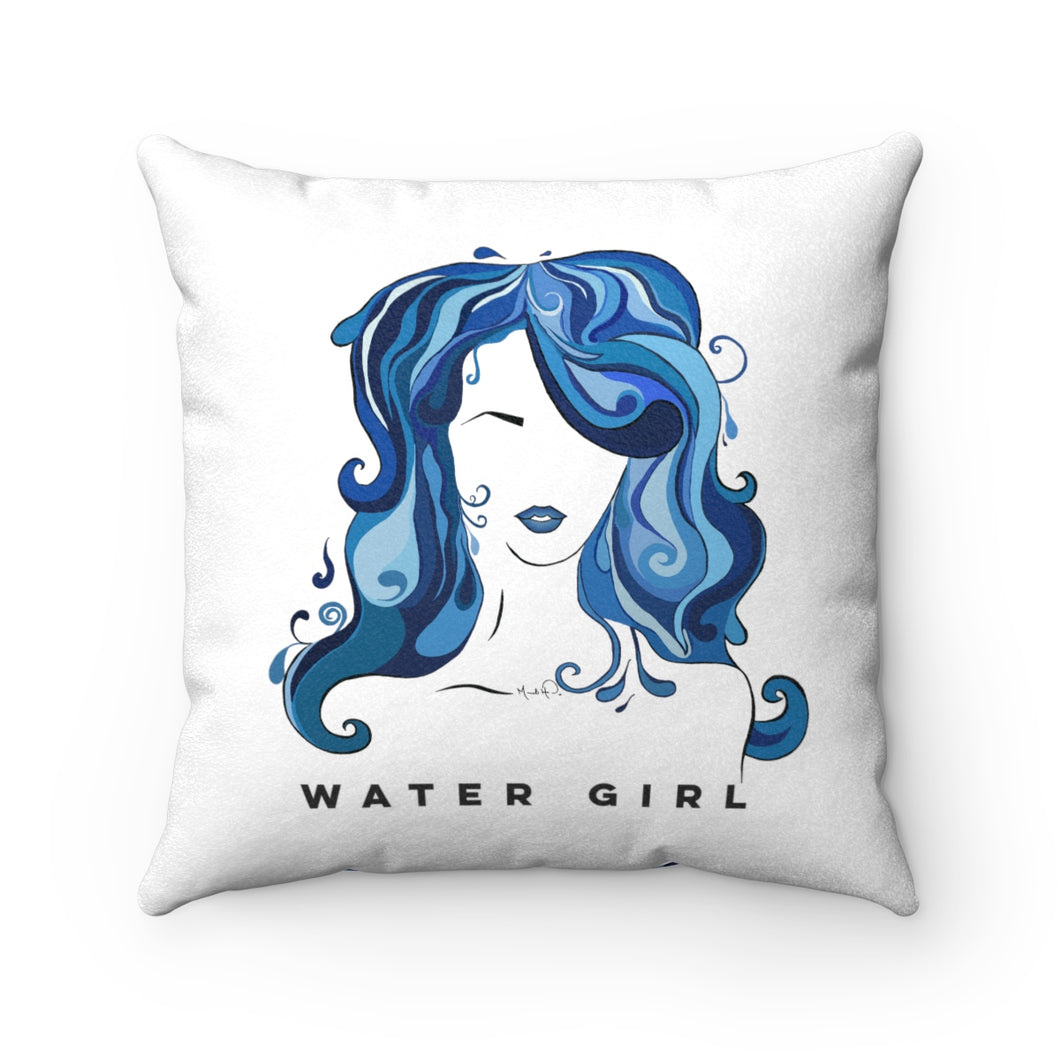 Water Girl Faux Suede Square Pillow