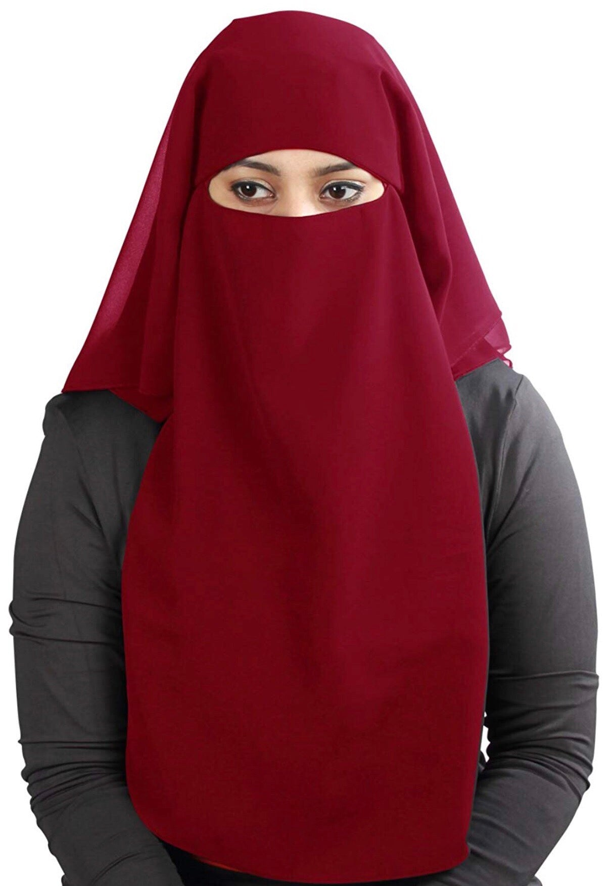 Burgundy 3 Layer Niqab
