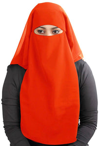 Orange 3 Layer Niqab