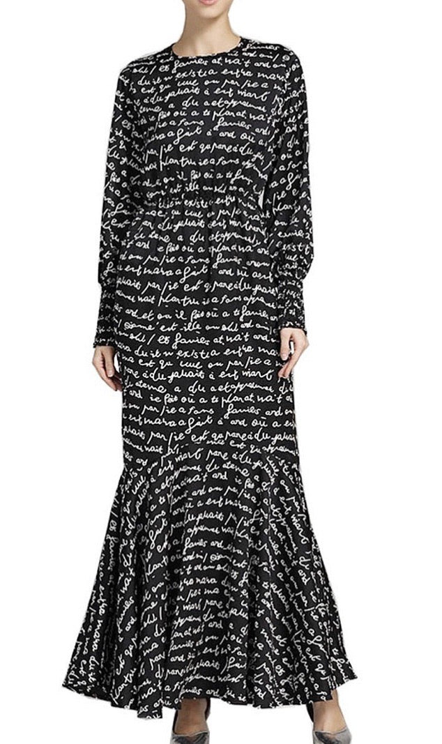 Black & White Abstract Script Dress
