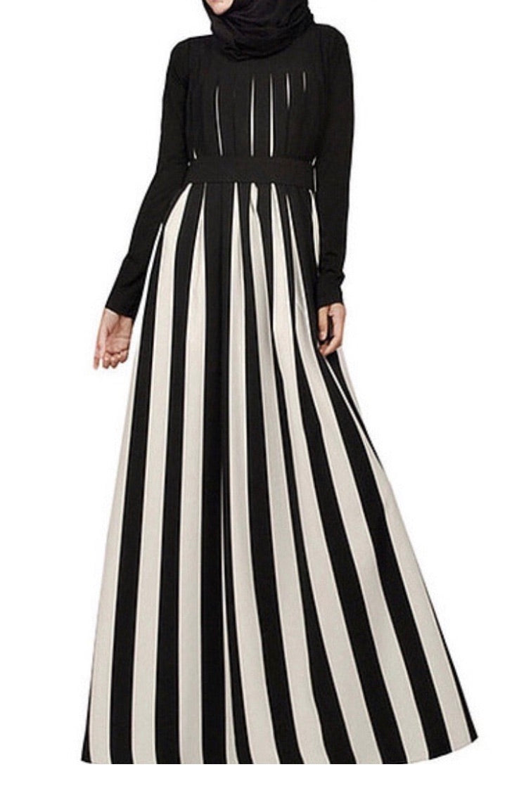 Black & White Striped Maxi Dress With Tie Belt