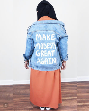"""Make Modesty Great Again"" Hand Painted Jean Jacket"