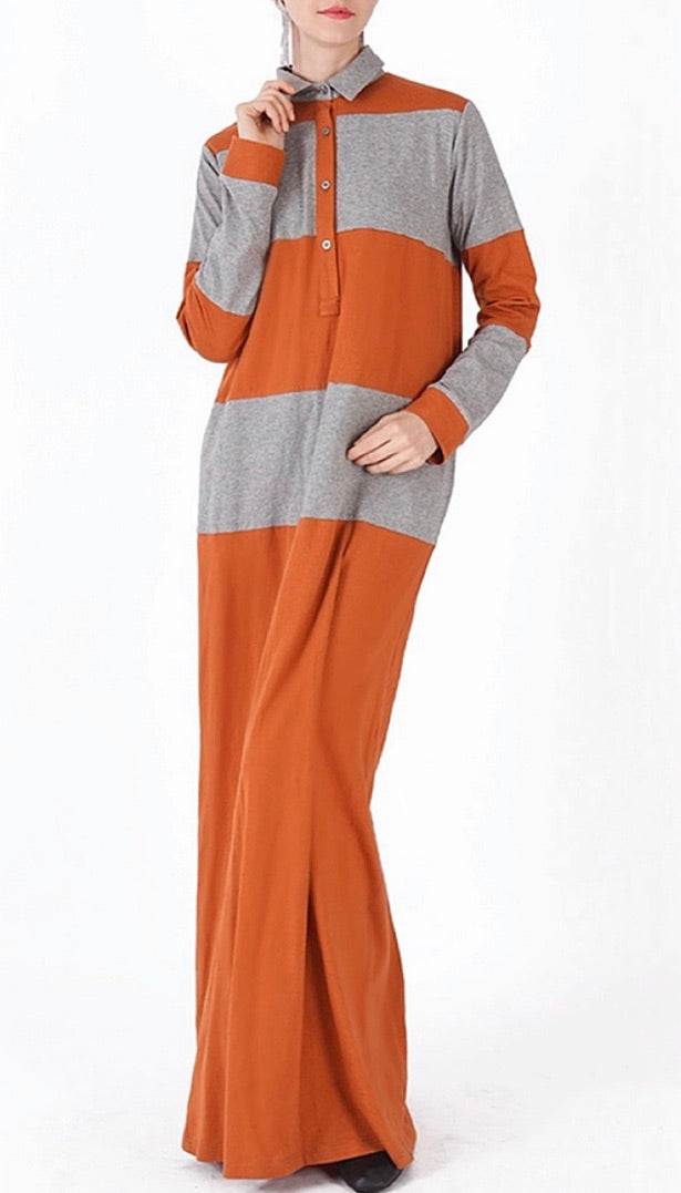Orange & Gray Polo Shirt Abaya