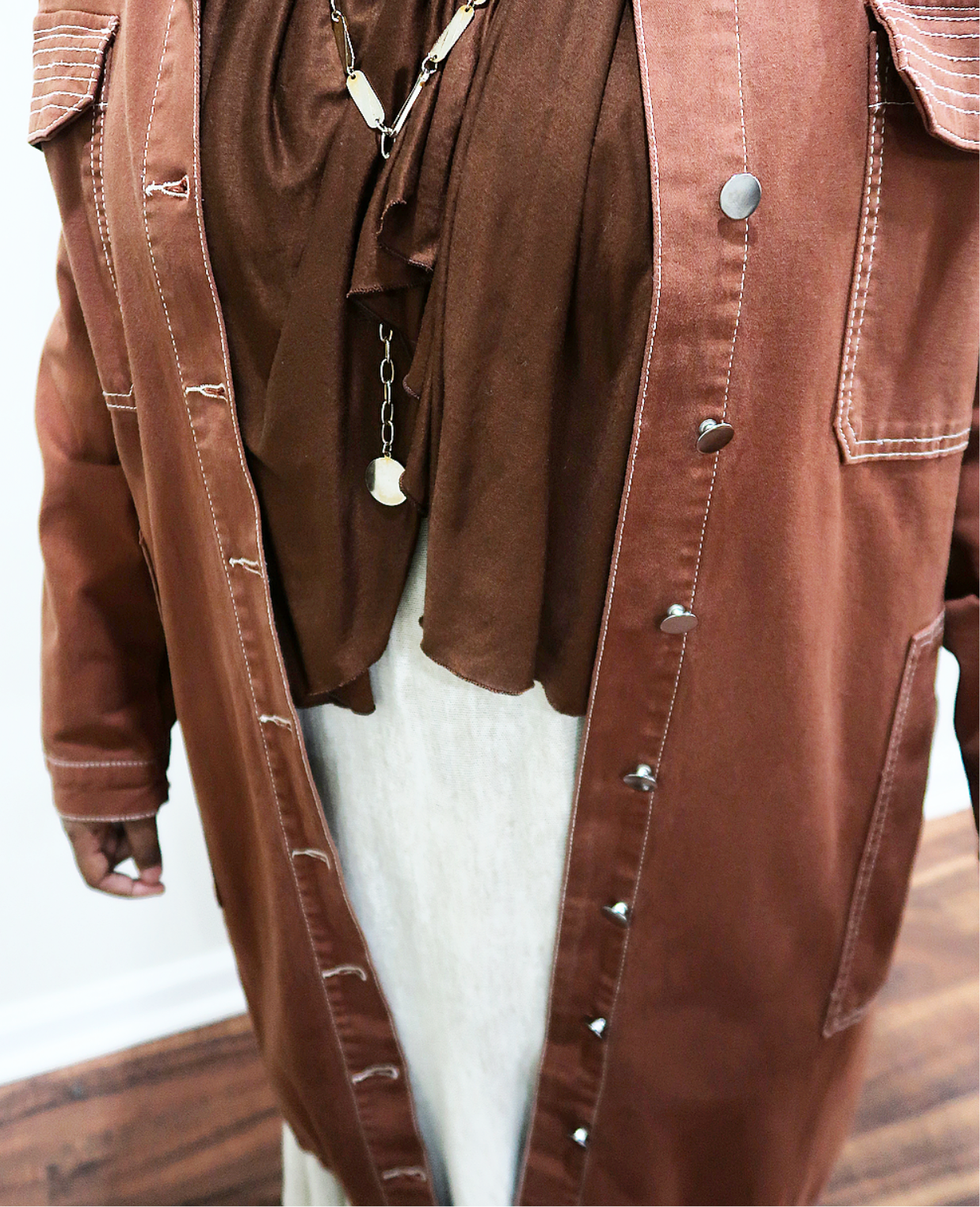 White Stitched Brown Demin Jacket