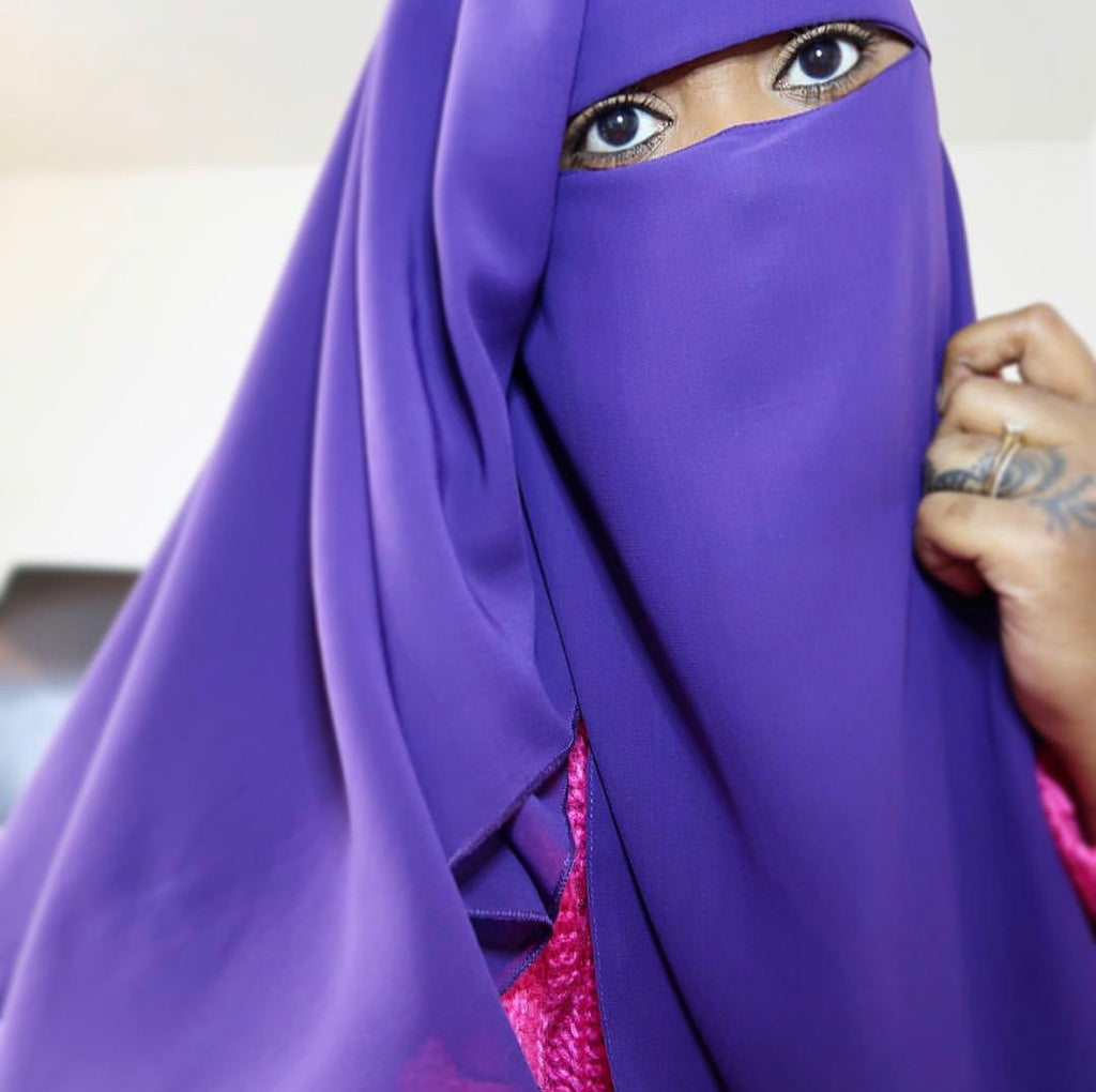 Purple 3 Layer Niqab
