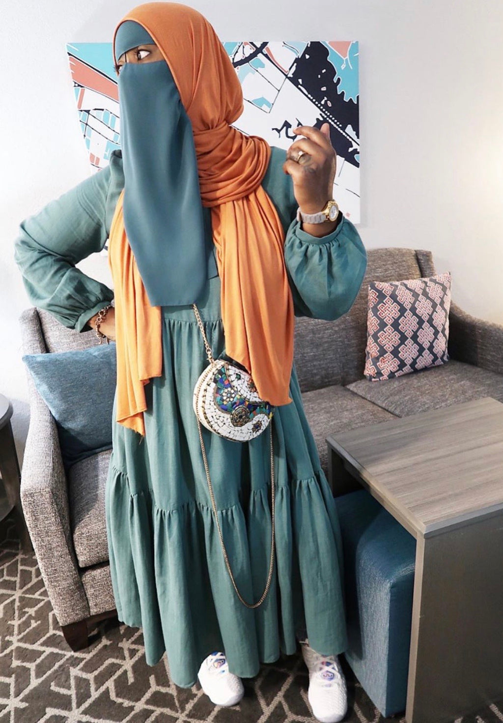 Long Tiered Teal Tunic