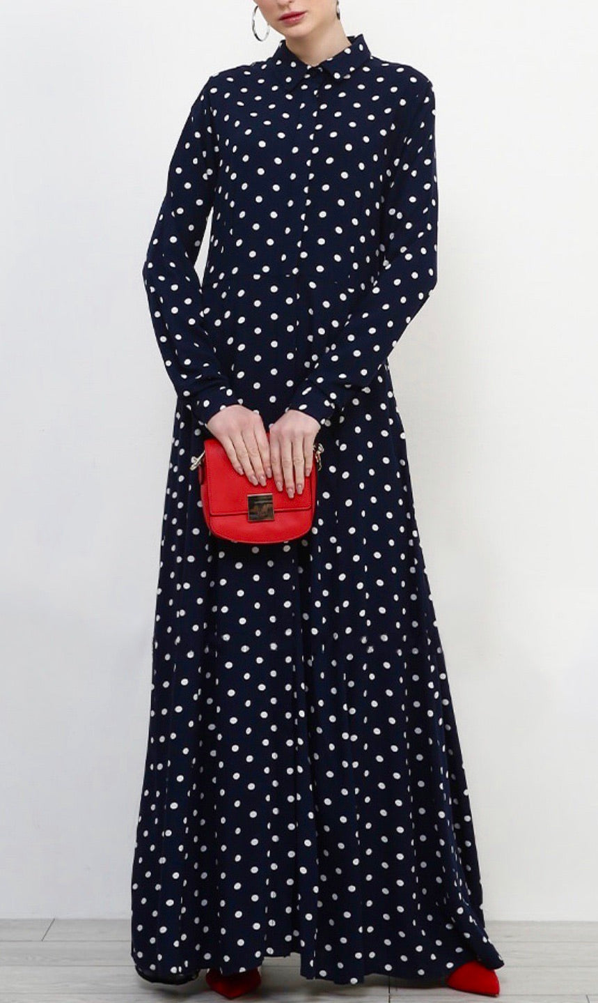 Navy & White Polka Dot Hidden Button Dress