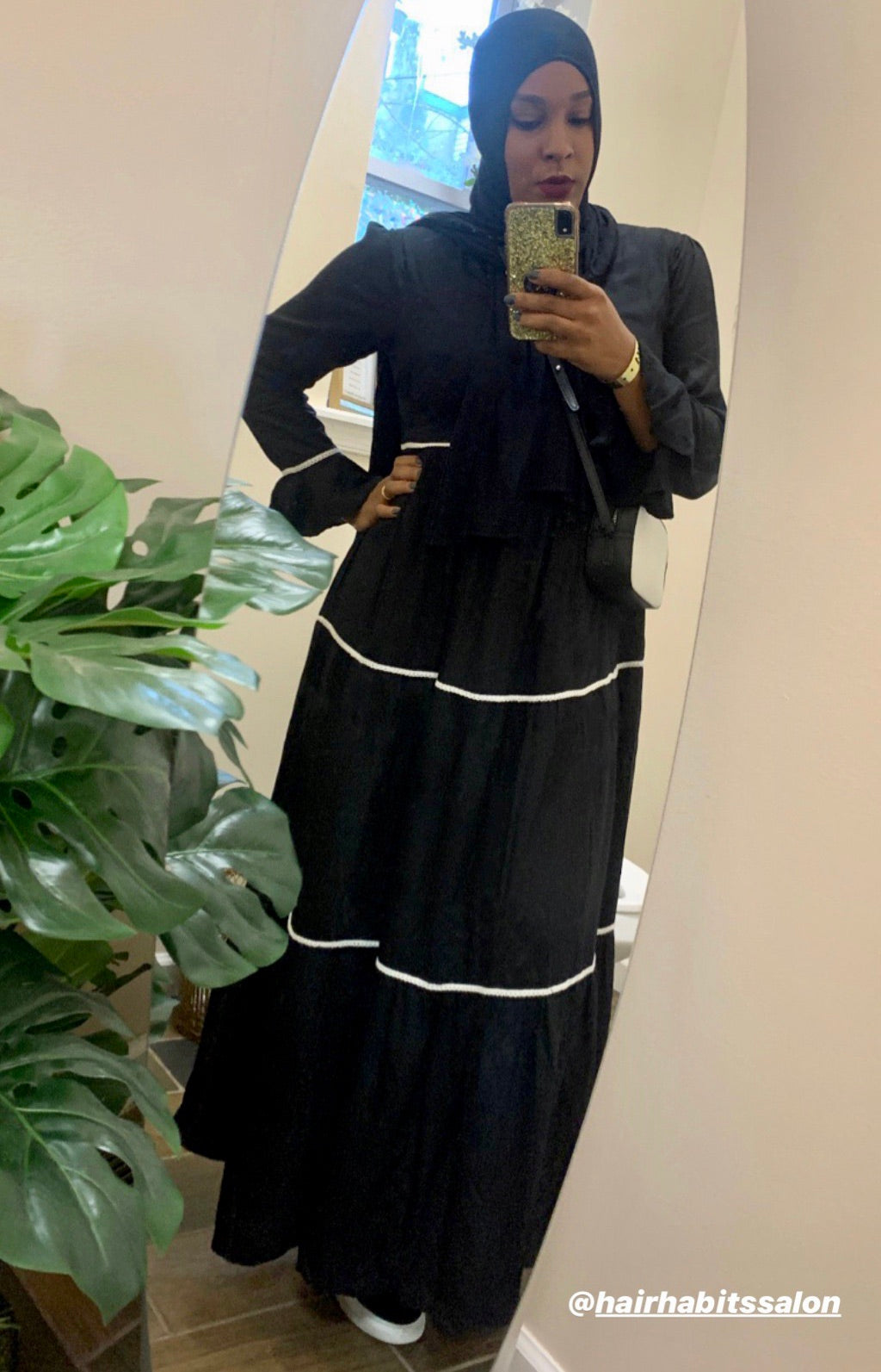 Multi Tiered Abaya in Black & White