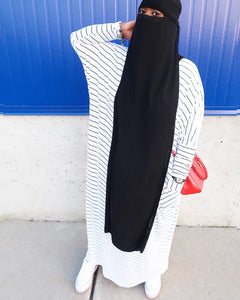 White & Black Stripe Crew Neck Dress