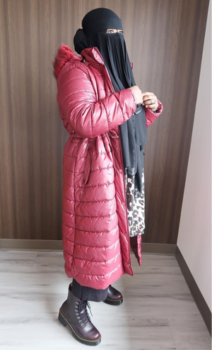Maroon Polo Neck Puffer Coat