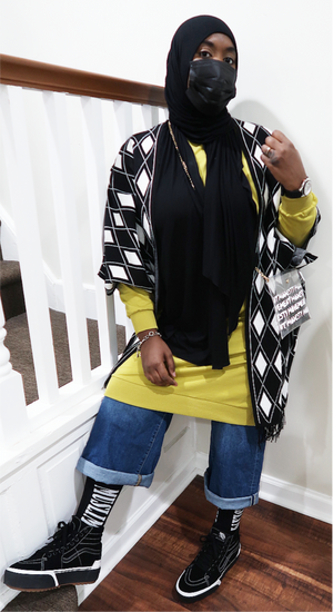 Black & White Diamond Sweater Poncho