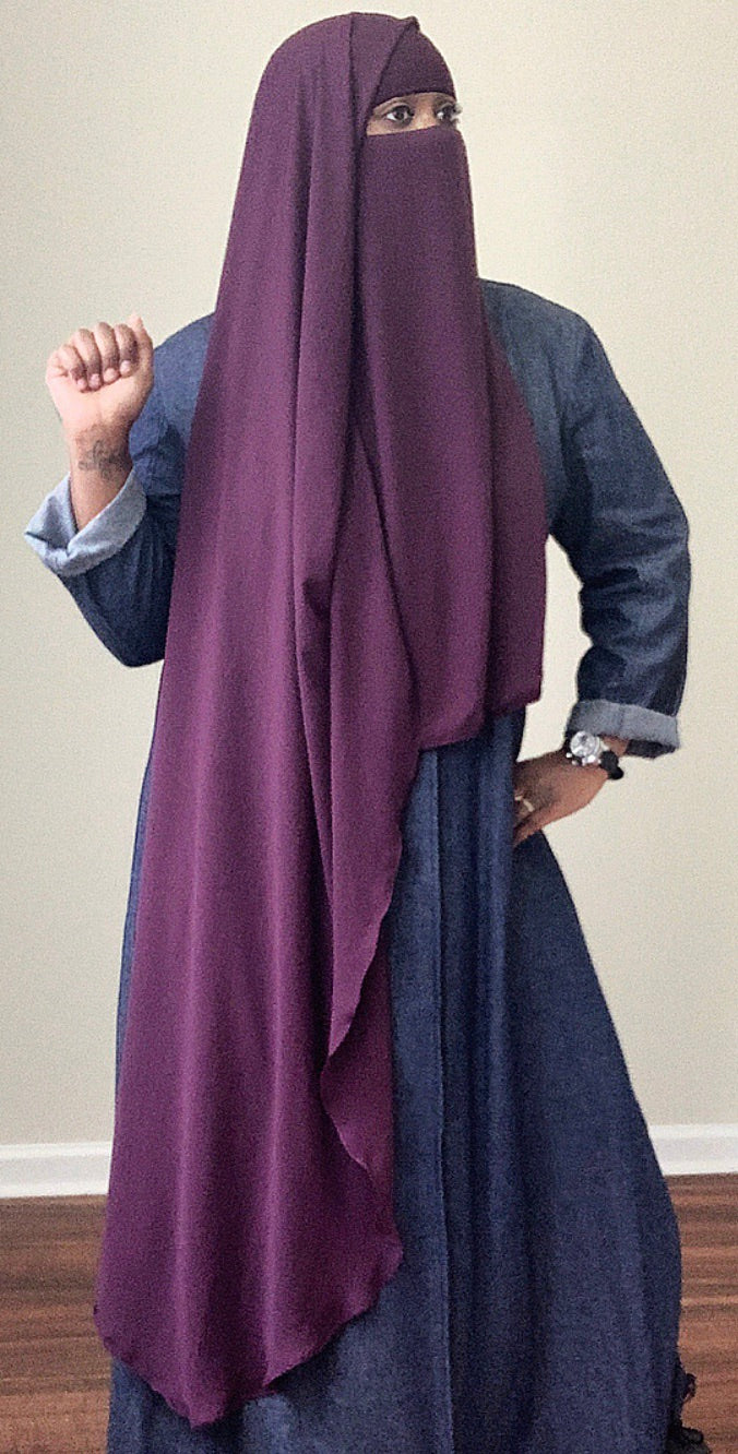 Double Layer Rapunzel Niqab In Purple Plum