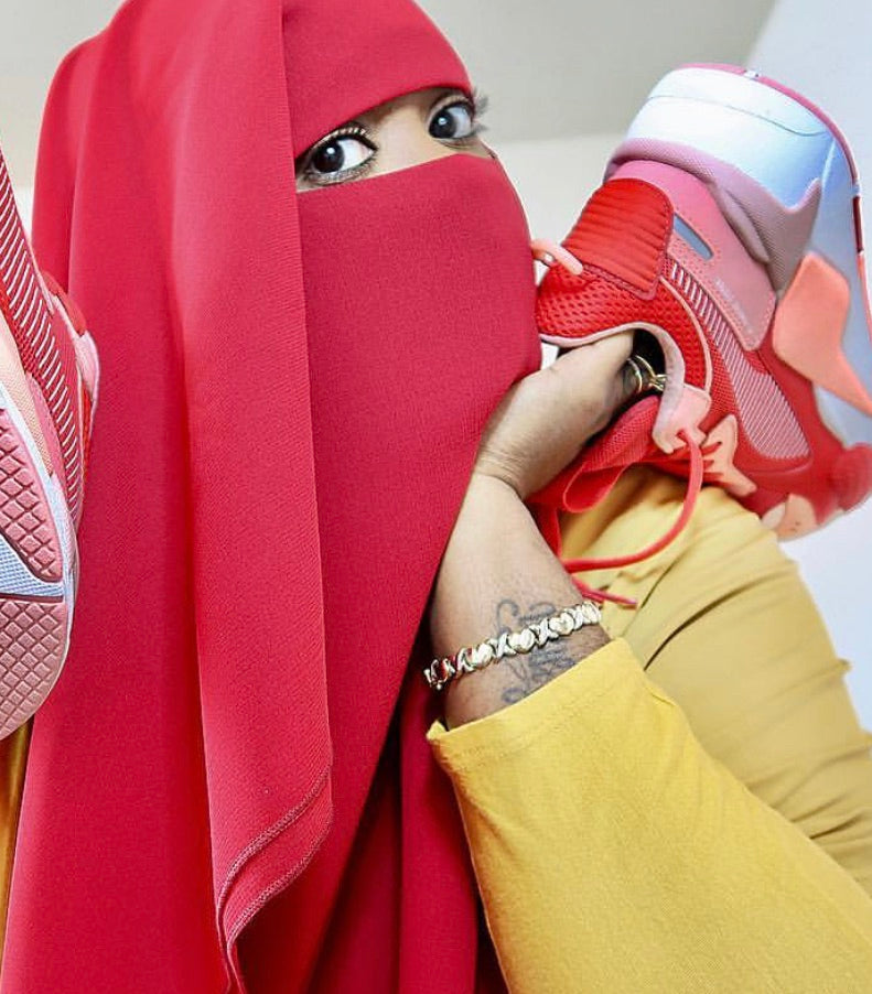 Red 3 Layer Niqab
