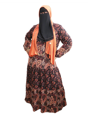 Paisley Print & Floral Mix Fully Lined Chiffon Dress