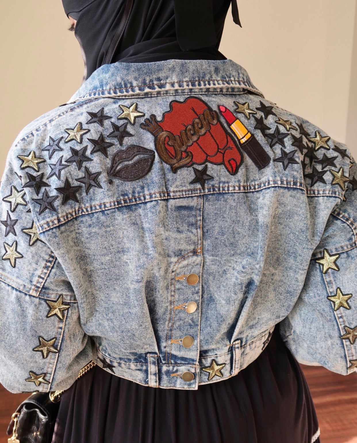 QUEEN Cropped Hand Sewn Varsity Patch Jacket