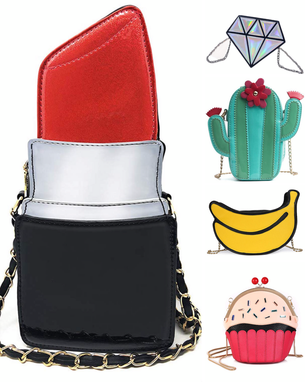 Novelty Purses: Lavish Lipstick, Diamond Princess, Cactus Chic, Banana Fresh & Cupcake Cutie