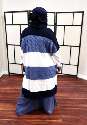 Blue Tones Sweater Poncho