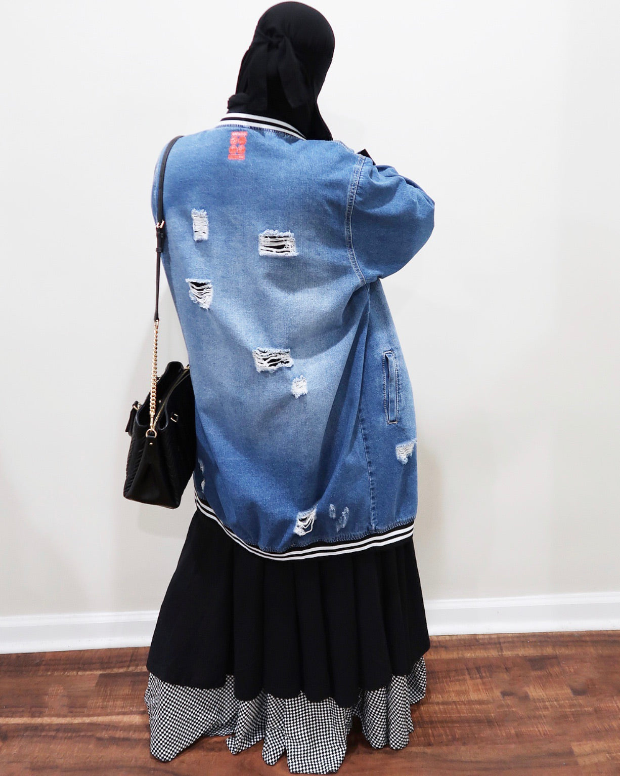 Distressed Denim Varsity Bomber (Extra Long)