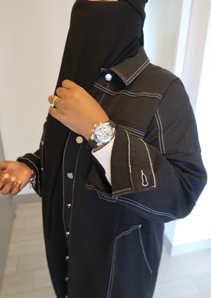 White Stitched Black Demin Jacket